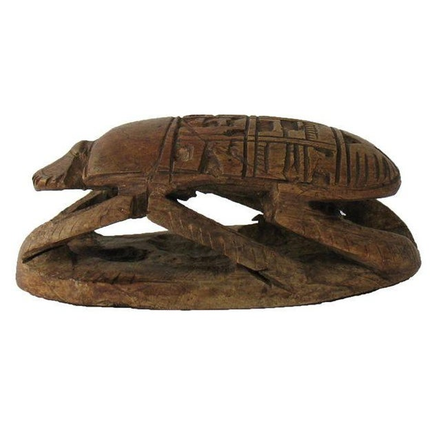 Vintage Egyptian Stone Scarab with Carved Glyphs - Image 1 of 6