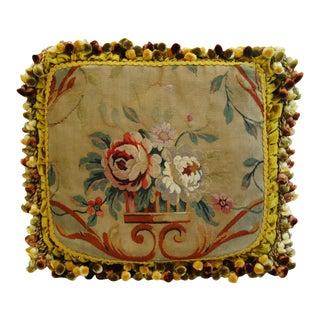 Custom Antique French Needlepoint & Velvet Pillow