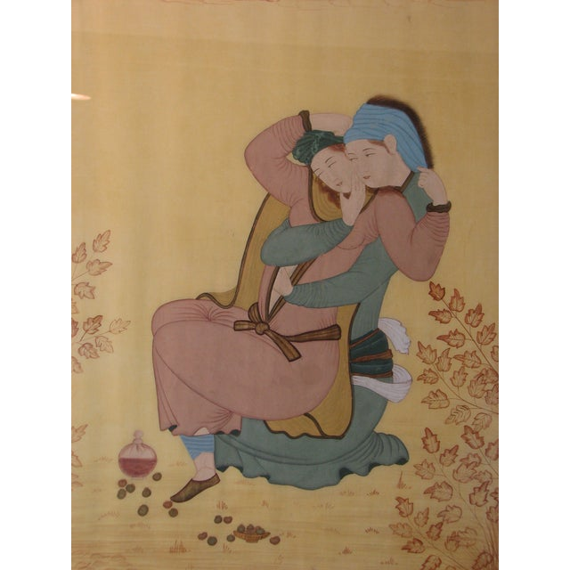 Persian Painting on Silk - Female Lovers - Image 1 of 5