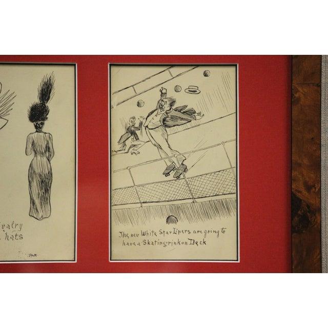 Set of 4 Framed Postcard Pen & Ink Drawings - Image 6 of 6