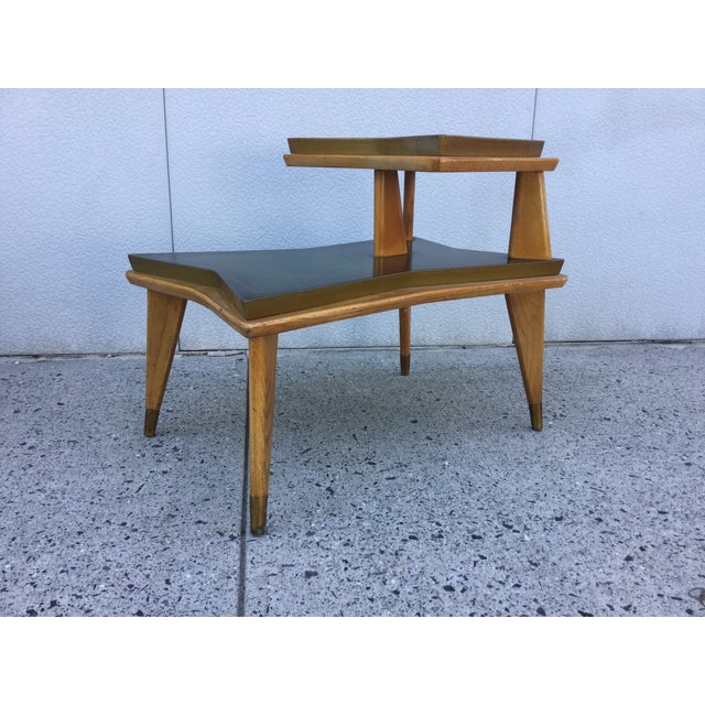 Image of 1940's Modernist Leather Top End Tables