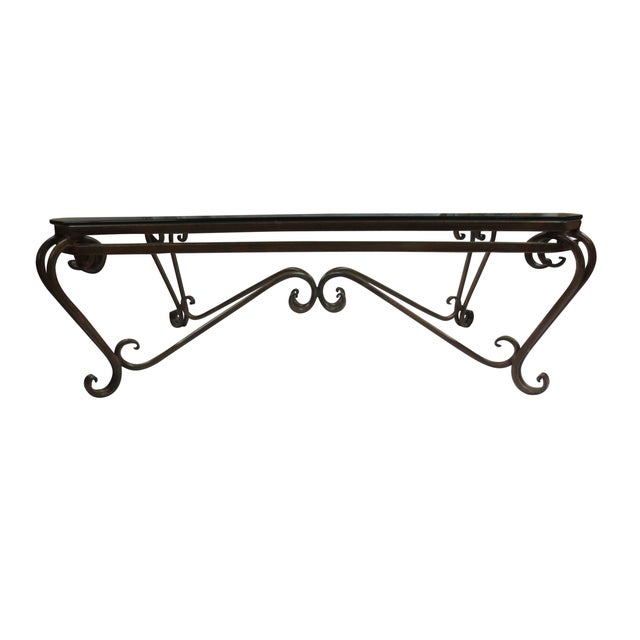 Hollywood Glam Wrought Iron And Glass Coffee Table Chairish
