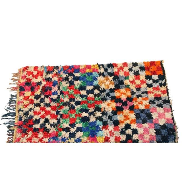 "Vintage Boucherouite Moroccan Carpet - 7'5"" X 4'3"" - Image 1 of 3"