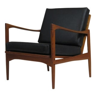 Ib Kofod-Larsen Danish Teak Lounge Chair in Black Leather
