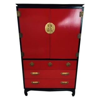 Lacquered Red & Black Asian Style Lane Dresser
