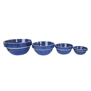 Vintage Clay City Pottery Blue Stoneware Earthenware Farmhouse Round Nesting Bowls - Set of 4