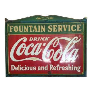 1935 Vintage Enamel on Steel Coca-Cola Store Sign