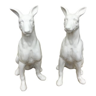 White Stoneware Dog Figurines - A Pair