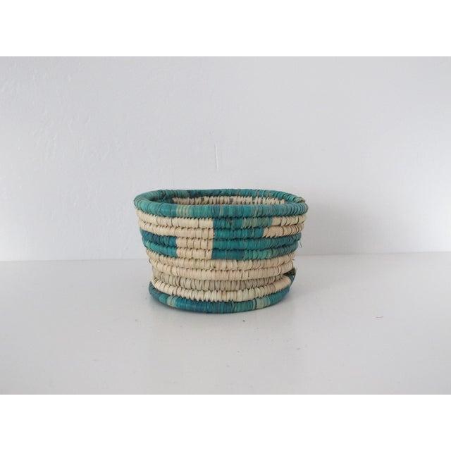 Turquoise Block Basket w/ Base - Image 2 of 3