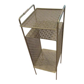 Mid-Century Gold Metal Mesh Side Accent Table