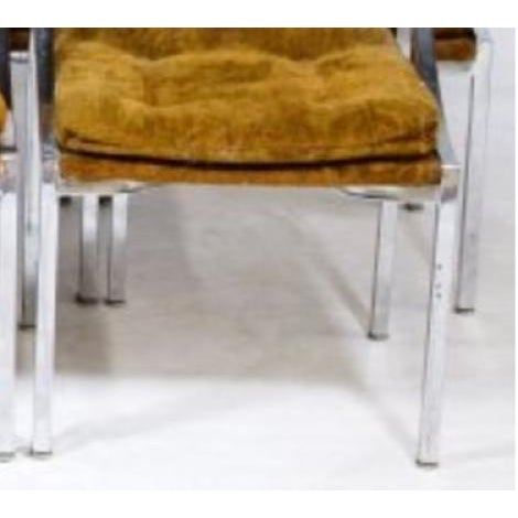 Chrome Dining Chairs with Gold Upholstery - Set of 6 - Image 2 of 3