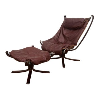Sigurd Ressell Leather Falcon Chair & Ottoman