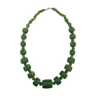 Jade Green Dyed Bone Tribal Necklace