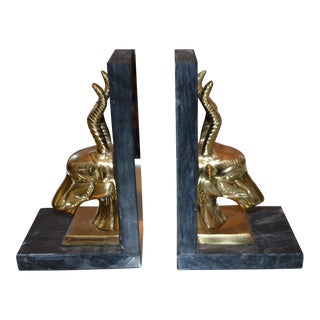 Brass Antelope Bookends - A Pair