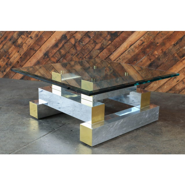 Paul Evans Style Vintage Chrome & Brass Coffee Table - Image 6 of 7
