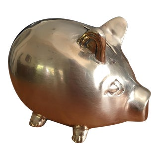 Vintage Whimsical Solid Brass Piggy Bank