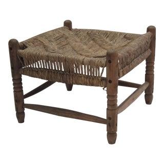 Antique Handmade Rush Footstool