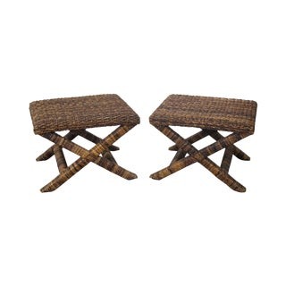 Palecek X Base Woven Seagrass Benches - A Pair