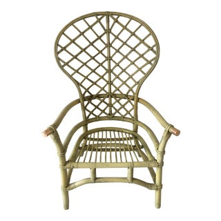 Vintage Green Rattan Fan Back Chair