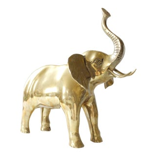 Vintage Mid Century Brass Elephant Statue