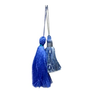 Hollywood Regency Style Beaded Blue Tassels