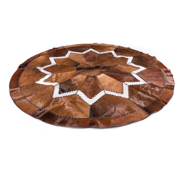 European Design Patchwork Cowhide Rug - 6' X 6' / Hair-On-Hide / Brand New - Image 2 of 10