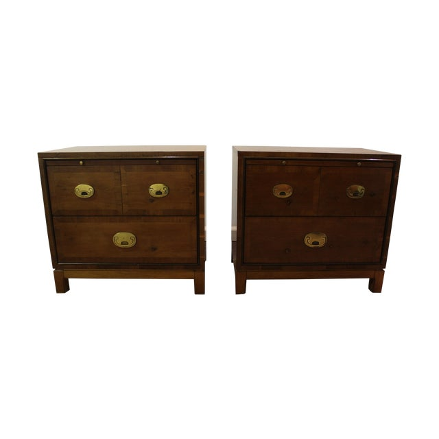 Mid-Century Campaign Style Nightstands - A Pair - Image 1 of 11