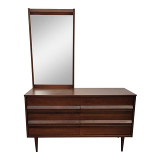 Mid-Century Bassett Walnut Dresser & Mirror