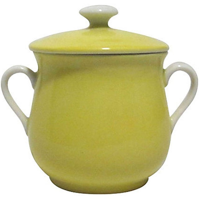 Image of Yellow Fitz & Floyd Pots De Creme With Tray