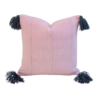 Custom Pale Pink & Gray Tasseled Feather/Down Pillow