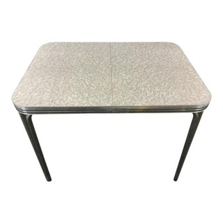 Atomic Age Chrome & Silver Laminate Dining Table