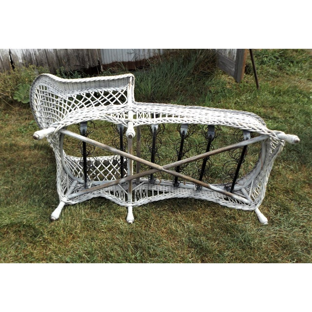 Vintage wicker chaise lounge with cushion chairish for Antique rattan chaise lounge