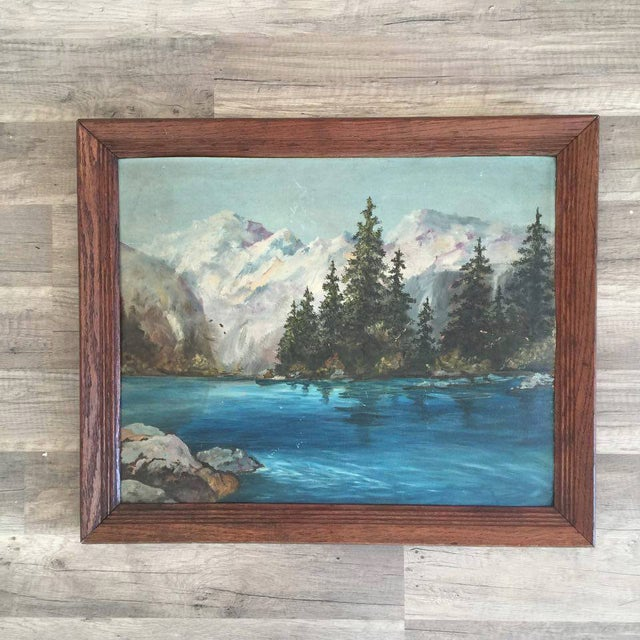 Snowy Mountain Landscape Painting - Image 2 of 3