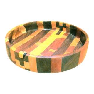 Mid-Century Modern Handmade Segmented Wood Accent Bowl