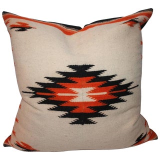 Monumental Navajo Indian Weaving Bolster Pillow