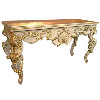 Vintage French Rococo White & Gold Console Table