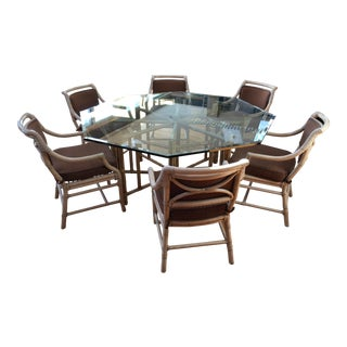 McGuire Reeded Bamboo Octagonal Dining Set