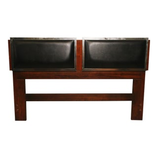 Danish Modern Black Vinyl Padded Queen Size Headboard