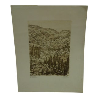 """""""Tree Lined Road"""" Etching"""
