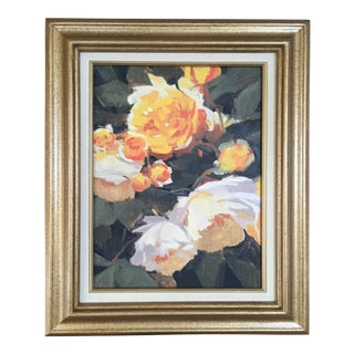Vintage French Oil Flower Painting