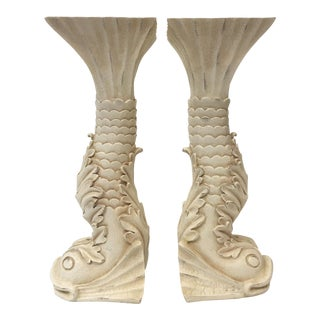 Asian Chinoiserie Dolphin Candle Holders - A Pair