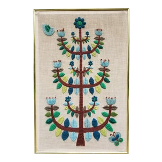 Mid-Century Modern Crewel Embroidered Wall Hanging