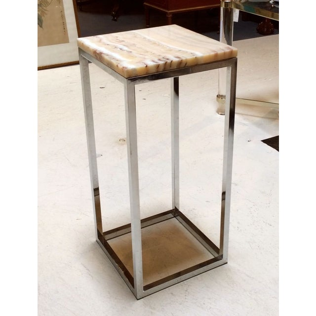 Milo Baughman Chrome & Marble Pedestal - Image 6 of 7