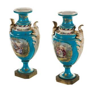 Sevre Blue Painted Porcelain Urns - Pair