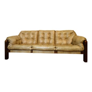 Percival Lafer Style Naugahyde & Walnut Sling Sofa