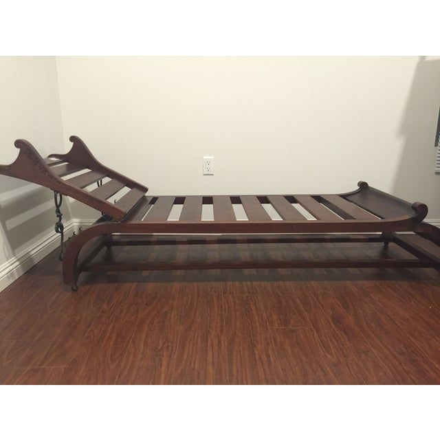 Vintage oriental chaise lounge wood chairish for Asian chaise lounge