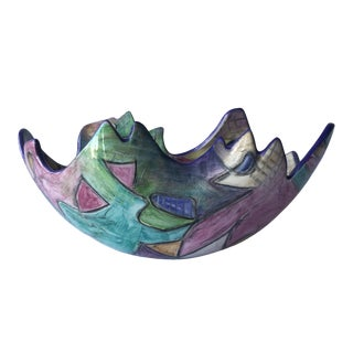 Colorful 1990's Post-Modern Ceramic Pottery Bowl
