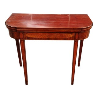 Antique English Mahogany 19th C FLIP TOP GAME Center TABLE CONSOLE Inlaid SERVER