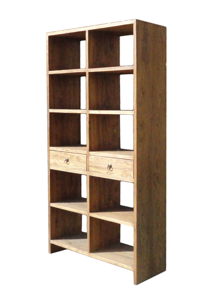 Rustic Wood Open Shelf Bookcase Display Cabinet   Image 3 Of 6