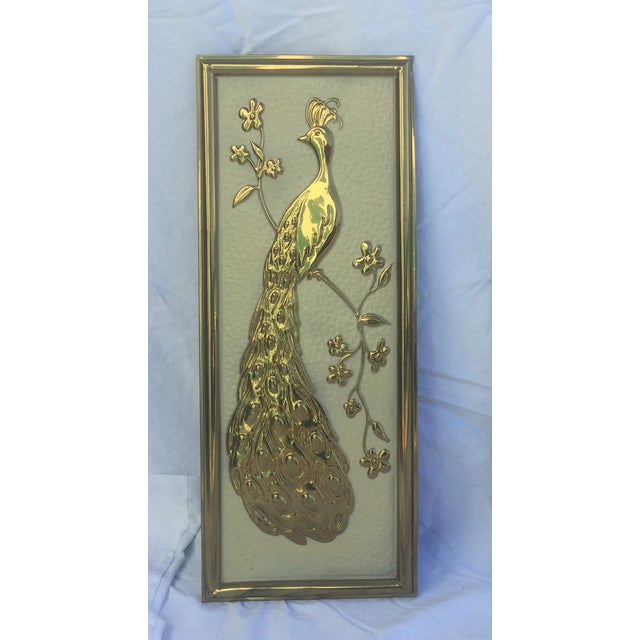 Vintage Brass Peacock Wall Hanging - Left Facing - Image 2 of 5